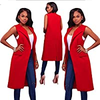 Gaoxu Europa y los Estados Unidos Women 's tops sin mangas Slim Lady Cardigan chaqueta de otoño,Rojo,M