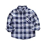 Zerototens Boys Shirt,1-10 Years Old Toddler Kids Clothes Boy Flannel Plaid Shirt Classic Long Sleeve Tops for Children Spring Autumn Outfit Black
