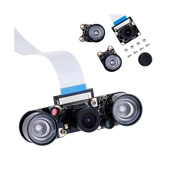 51IYixwcVqL. SS600  - Zacro Módulo de Cámara con Sensor Cámara de Vídeo de HD Soporte Visión Nocturna para Raspberry Pi 3 Modelo B B + A + RPi 2 1 Cámara SC15