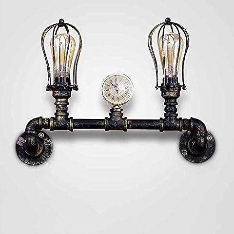 LOFT Retro Style a due punte Tubi di ferro industriale lampada da parete Studio Terrace (2 Ferro Loft)
