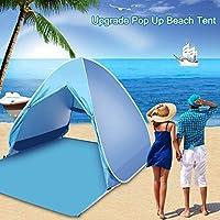 Pulnda Cremallera Tienda de Playa Desplegable Instantánea Familiar y Portátil Resistente al Sol Ultravioleta para 2