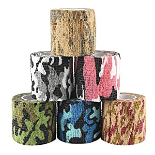Andux Zone 6 Rolls Camouflage Tape Wrap Stealth Camo Stretch Cohesive Woven Adhesive Bandage ZZTXBD-03 Random Colors (5.0cm*4.5m)