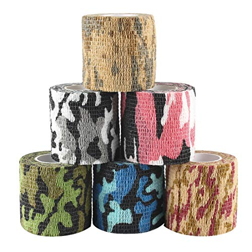 Andux Zone 6 Rollen Haftbandage Verband Elastische Selbsthaftende cohesive Bandage Elastischer Fixierverband Camouflage Bandagen ZZTXBD-03 Farbe Random (5cm*4.5m)