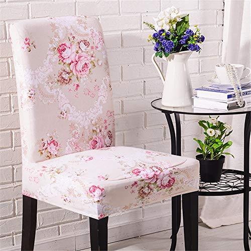 Coprisedie con schienale, morbuy elegante fiori di stampa universale coprisedia elastico per sala pranzo hotel banchetto lavabile sfoderabile party decor (1 pezzi,rosa romantica)