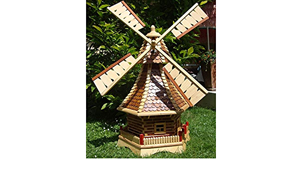 XXL Premium Solar Windm/ühle 130cm Holz impr/ägniert+kugelgelagert Garten Deko