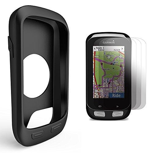 Garmin Edge 1000 / Approach G8 Silikon Schutzhülle + Display Schutz, TUSITA® Ersatz Schutz Bundle Soft Cover Case Lanyard Zubehör für Garmin GPS Fahrradcomputer (SCHWARZ)