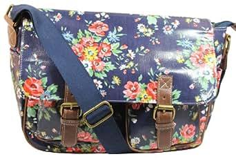Becks Floral Laminate Double Pocket Satchel Bag in Deep Blue