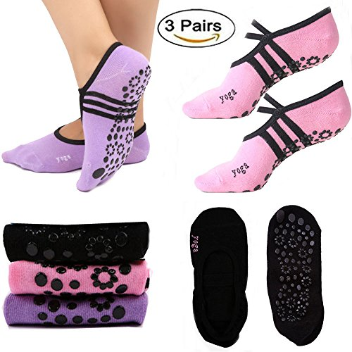 Non Slip Yoga Pilates Socks with Grips Low Cut Cotton Dance Barre Anti-Slip Socks For Women, 3 Pairs, Women Shoe Size UK 2.5-6.5 / EU Size 35-39