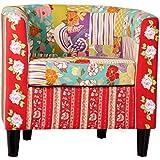 Patchwork Design Clubsessel Sessel mehrfarbig Polstersessel Sessel Textil Stoff Armlehnensessel Ohrensessel Wohnzimmersessel