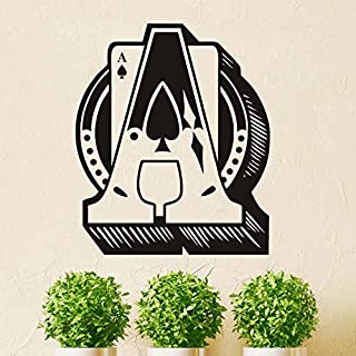 Ace of Spades 3D Vinyl Wall Stickers for Living Room Playing Cards Removable Wallpaper Wall Art Decals Murals Poster Home Decor 69cm X 58cm
