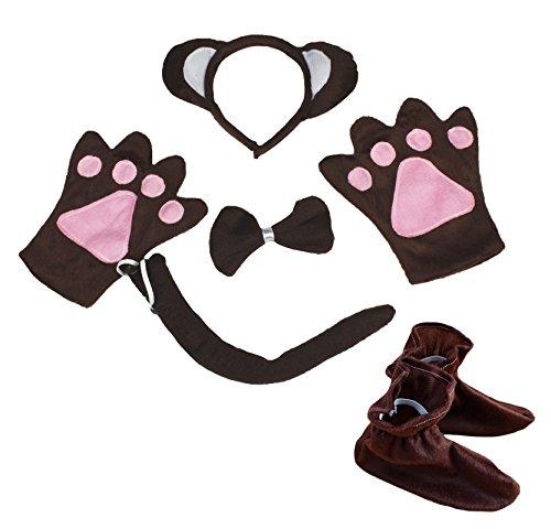 Affe Tier Stirnband Schleife Schwanz Handschuhe Schuhe 5-teiliges Kostüm für Kind Party