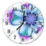 DekoGlas Glasuhr 'Blume blau' Uhr aus Acrylglas, rund große Motiv Wanduhr Ø30 cm, lautlos für Wohnzimmer & Küche