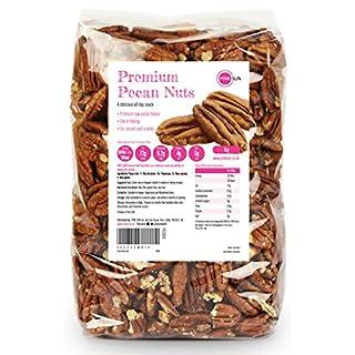 PINK SUN Pecan Nuts 1kg (or 500g, 2kg, 3kg, 5kg) Raw Natural Pecans 1000g Unsalted Whole Foods Bulk Kernals Unpasteurised Unroasted Gluten Free Vegetarian Vegan Bulk Buy