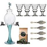 Absinth / Absinthe Zubehör Set mit 1x Absinth-Fontäne Grüne Fee, 4x Absinth-Gläsern, 4x Absinth-Löffeln, 1x Absinth-Zucker -