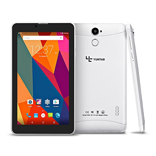 YUNTAB E706 7 Zoll Tablet PC Quad Core 8GB 1024×600 Auflösung Google Android 5.1/6.0 mit SIM Karte Bluetooth 4.0 Dual Kamera 0.3 MP und 2.0 MP weiß