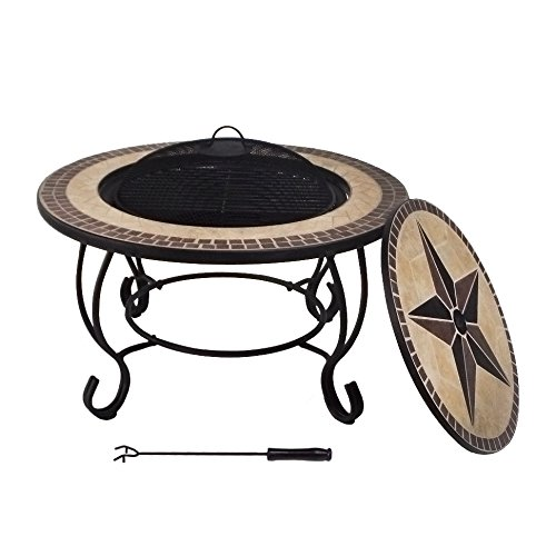 Lyndan Naiad 76 cm Outdoor Garden Round Mosaic Coffee Table and Fire Pit Bowl BBQ Grill Fireplace Brazier Patio Heater Cooking Grate Poker Log Wood Burning with Accessories and Rain Cover