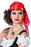 Jannes 9043 Piraten-Kappe mit Münzen Bandana Kopftuch Zigeuner-Kappe Einheitsgröße Rot