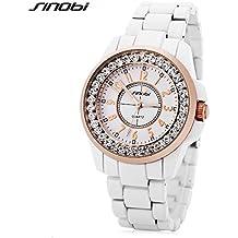 SINOBI Fashion Crystal Enamel Bracelet Women Watches, Waterproof Business Casual Lady jewelry Watch White