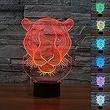 3D Tiger Tier Glühen LED Lampe 7 Farben erstaunliche optische Täuschung Art Skulptur Ferneinstellung Lichter produziert einzigartige Lichteffekte und 3D-Visualisierung für Home Decor-kreative Geschenk