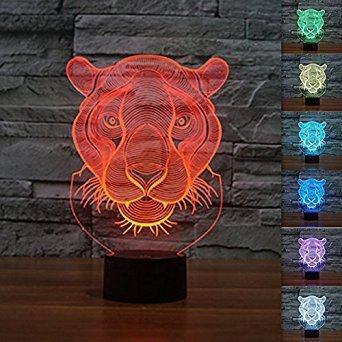 3D Tiger Tier Glühen LED Lampe 7 Farben erstaunliche optische Täuschung Art Skulptur Ferneinstellung Lichter produziert einzigartige Lichteffekte und 3D-Visualisierung für Home Decor-kreative Geschenk (Peanuts Halloween Dekoration)