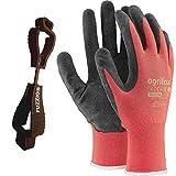 24 paia di guanti da lavoro rivestiti lattice e supporto clip per guanti FUZZIO (M - 8, Rosso)