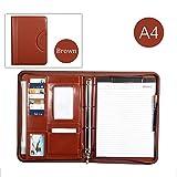 A4portfilio Konferenz Datei Ordner Reißverschluss Leder Dokument Tasche mit Griff schwarz