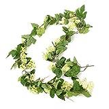 artplants Set 2 x Künstliche Hopfengirlande, grün, 130 Blätter, 60 Dolden, 200 cm - 2 Stück - Deko Girlande/Kunstpflanze Hopfen