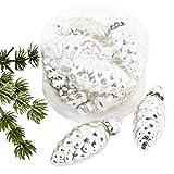 Weihnachtskugel Zapfen Premium 8er Set Glas 5x2x2cm Xmas Baumschmuck (Silber)