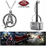 (2 Pcs AVENGERS SET) - AVENGERS SILVER LARGE LOGO IMPORTED METAL PENDANT & THOR HAMMER (SILVER) KEYCHAIN. LADY HAWK DESIGNER SERIES 2018. ❤ ALSO CHECK FOR LATEST ARRIVALS - NOW ON SALE IN AMAZON - RINGS - KEYCHAINS - NECKLACE - BRACELET & T