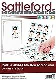 Sattleford Laser-Etiketten: 240 Bewerbungsfoto-Etiketten hochglänzend 45x55 mm (Drucker Etiketten)