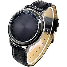 Stile semplice impermeabile LED Touch Screen Watch PU pelle orologio da polso per uomo donna coppie amanti studenti Black - Polso Amanti Orologi