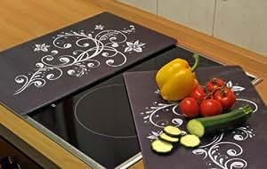 herdabdeckplatte glas 2er set schwarz ceranfeld schneidebrett top design k che. Black Bedroom Furniture Sets. Home Design Ideas