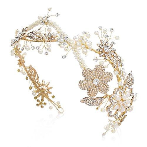 SWEETV Vintage Pearl Headband Gold Rhinestone Tiara Wedding Hair Band Jewelry Bridal Headpieces