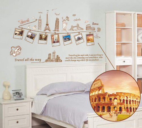ufengke® Ricordi di Viaggio Creative Picture Foto Adesivi Murali ...