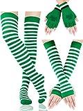 Chauffe-Bras Rayés Chaussettes Longues Extensibles Gants sans Doigts avec Trèfle Accessoire de Fête de la Saint-Patrick pour Femmes Filles, 3 Paires (Jeu de Couleur 1)