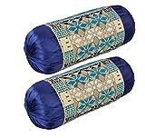 HSR Collection Chenille Velvet Luxury Bolsters Covers (32 x 16, Blue) - Set of 2