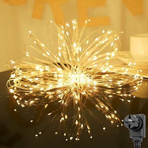 Salcar 20m 200er LED Lichterkette + 3m Stromkabel, 4,5V Sicherheits netzteil, Dekoraktive LED Kupfer Lichterkette für Haus, Weihnachtsbaum, Bar usw, Memory-Funktion - Warmweiß -