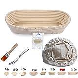 Banneton Proofing basket 30,5cm ovale Banneton per pane e pasta [free Brush] Proofing rising rattan ciotola (800g impasto) + free Liner + free pane forcella
