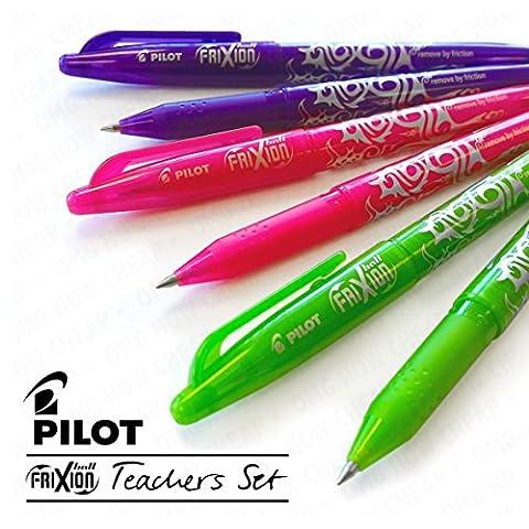 Pilot Frixion Ball effaçable stylos–enseignants–Rose, violet, et vert citron–lot de 6