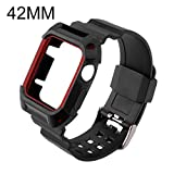N.ORANIE Apple Watch Band 42mm with Case Sport Shockproof Rugged Protective Case with Strap Flexible TPU Wristband with Full Coverage Armor Cover for Apple Watch Series 1 & Series 2 (Black+Red 42mm)