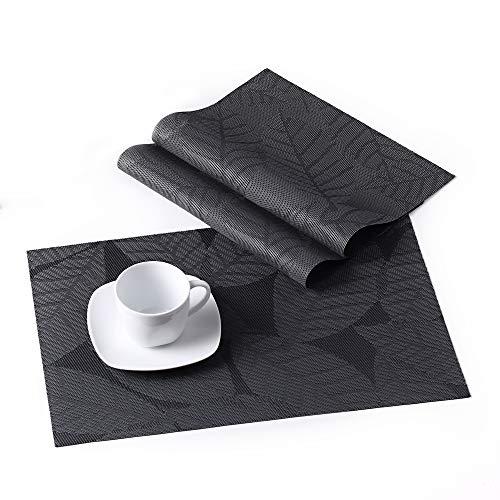 Lovecasa tovagliette americana pvc plastica rettangolo tovagliette da tavola colazione pranzo lavabili, antiscivolo, antimacchia,resistenti al calore, set 6 pezzi tovaglietta, grigio foglia