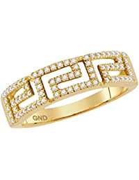 10kt Yellow Gold Womens Round Diamond Greek Key Band Ring 1/5 Cttw (I1-I2 clarity; H-I color)