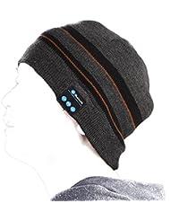 Haosen Chapeau de musique Bluetooth Chapeau chaud souple avec un casque stéréo Casquettes et bonnets - Écouter le téléphone, écouter de la musique Bluetooth chapeaux pour les sports de plein air (Gris jaune)