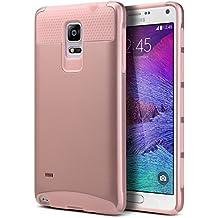 Carcasa Note 4, ULAK Galaxy Note 4 Funda Case doble capa del Silicona de alta Resistencia del Carcasa de Shell para Samsung Galaxy Note 4 (Rosa Oro)