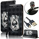 : For (2016 Version) Galaxy A3 Case [Waterproof],Vandot Wallet Case for Samsung Galaxy A3 SM-A310F PU Leather Flip Stand Magnetic Cover 3D Relief Painting Pattern-Ace of Sprade Black Skull+Anti Dust Plug+USB Data Line