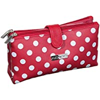 Audacity Red and White Polka Dot Double Pocket Cosmetic Purse Make-up Bag
