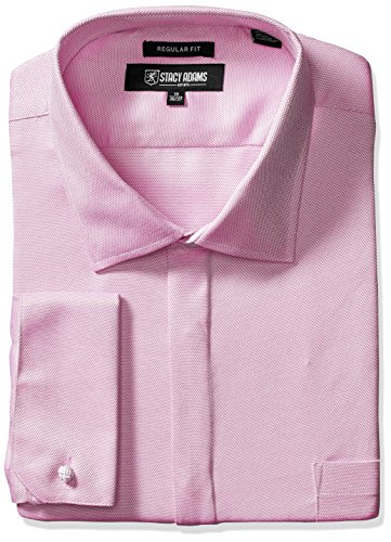 Stacy Adams Men's Big and Tall Textured Solid Dress Shirt, Purple, 19