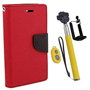 Aart Fancy Diary Card Wallet Flip Case Back Cover For Samsung ON5 - (Red) + Remote Aux Wired Fashionable Selfie Stick Compatible for all Mobiles Phones By Aart Store