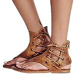 OYSOHE Frauen Prise Große Flachem Boden römischen Sandalen Riemchen Sandalen Ankle Flachriemen Schuhe Damen Sandalen mit Reißverschluss