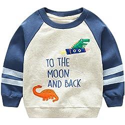 Feoya - Sudadera Algodón para Niño Camiseta Manga Larga Dibujo Dinosaurio 5-6 Años - Azul